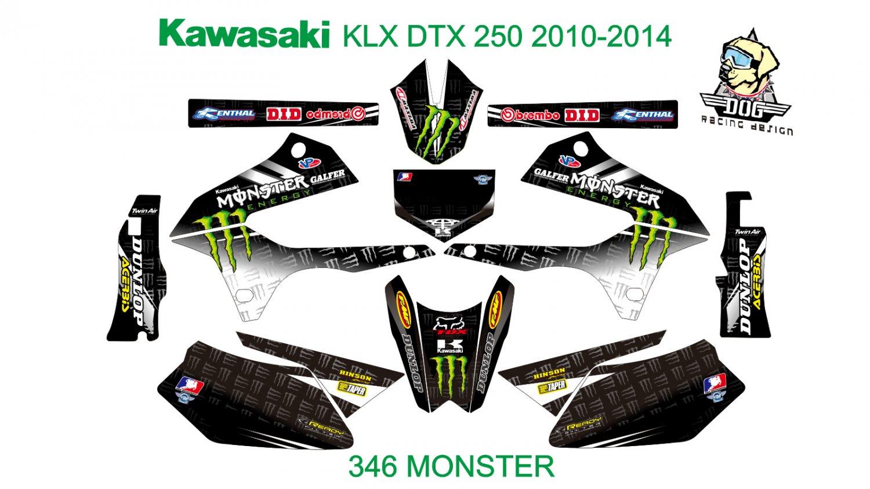 KAWASAKI KLX DTX 250 2010-2014 GRAPHIC DECAL KIT CODE.346