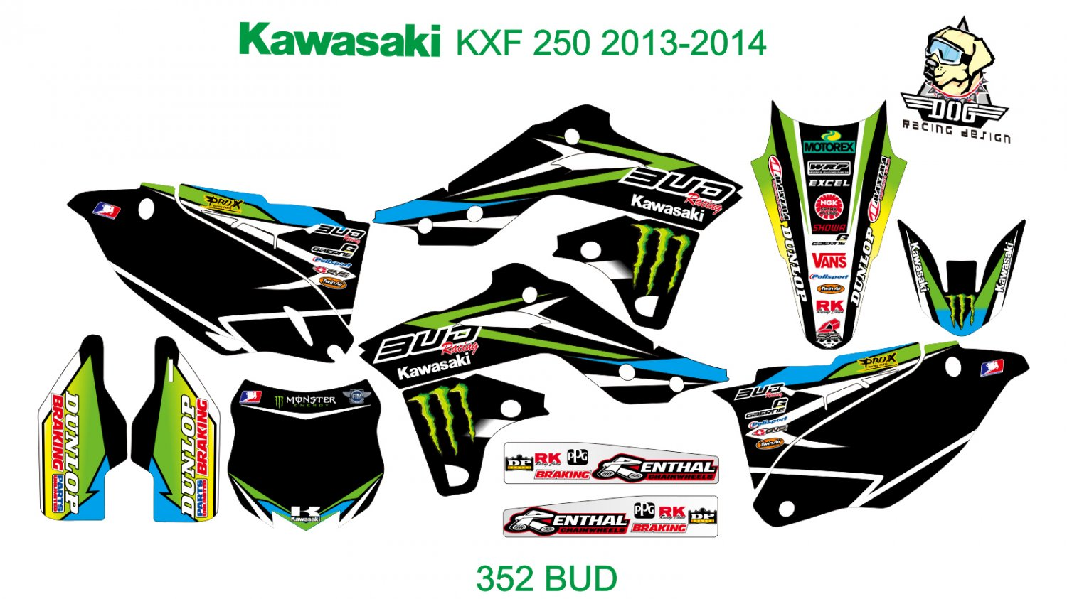 KAWASAKI KXF 250 2013-2014 GRAPHIC DECAL KIT CODE.352