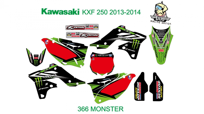 KAWASAKI KXF 250 2013-2014 GRAPHIC DECAL KIT CODE.366