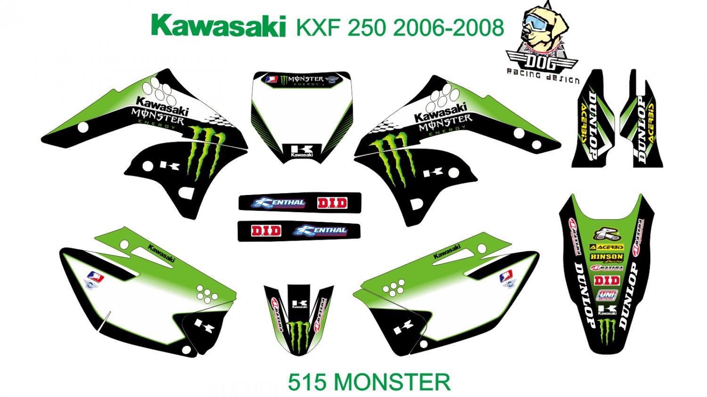 KAWASAKI KXF 250 2006-2008 GRAPHIC DECAL KIT CODE.515