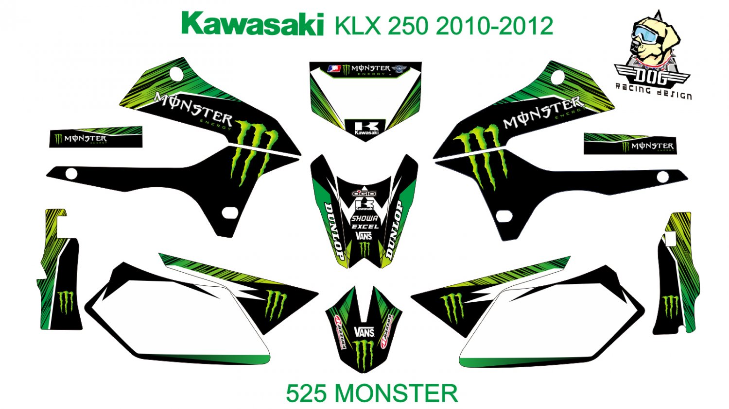 KAWASAKI KLX 250 2010-2012 GRAPHIC DECAL KIT CODE.525