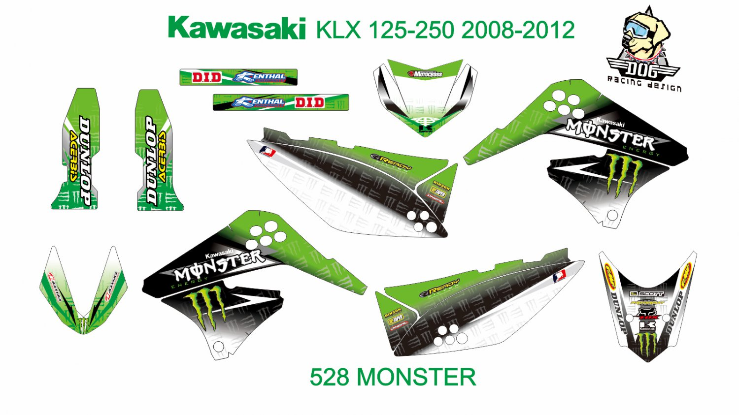 KAWASAKI KLX 125-250 2008-2012 GRAPHIC DECAL KIT CODE.528