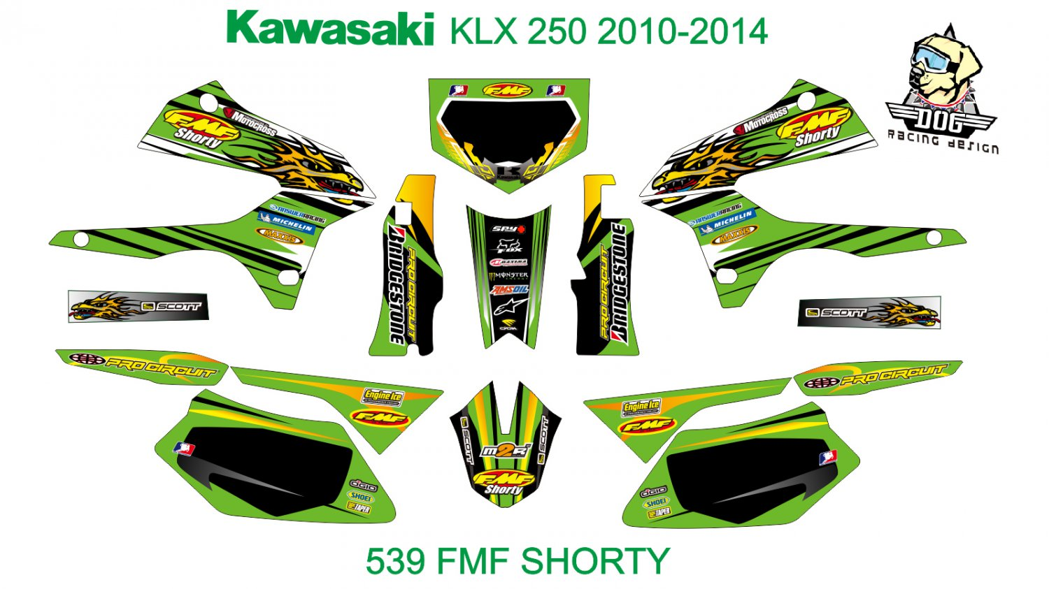 KAWASAKI KLX 250 2010-2014 GRAPHIC DECAL KIT CODE.539