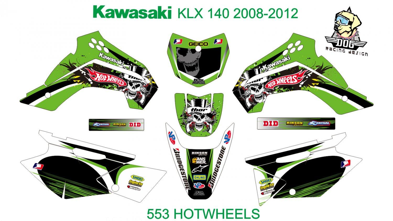 KAWASAKI KLX 140 2008-2012 GRAPHIC DECAL KIT CODE.553