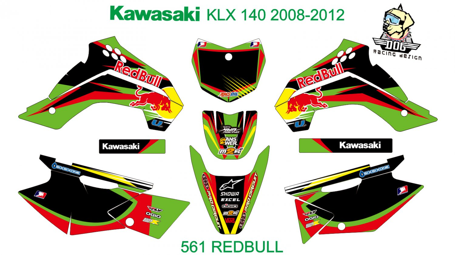 KAWASAKI KLX 140 2008-2012 GRAPHIC DECAL KIT CODE.561