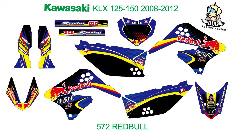 KAWASAKI KLX 125-150 2008-2012 GRAPHIC DECAL KIT CODE.572