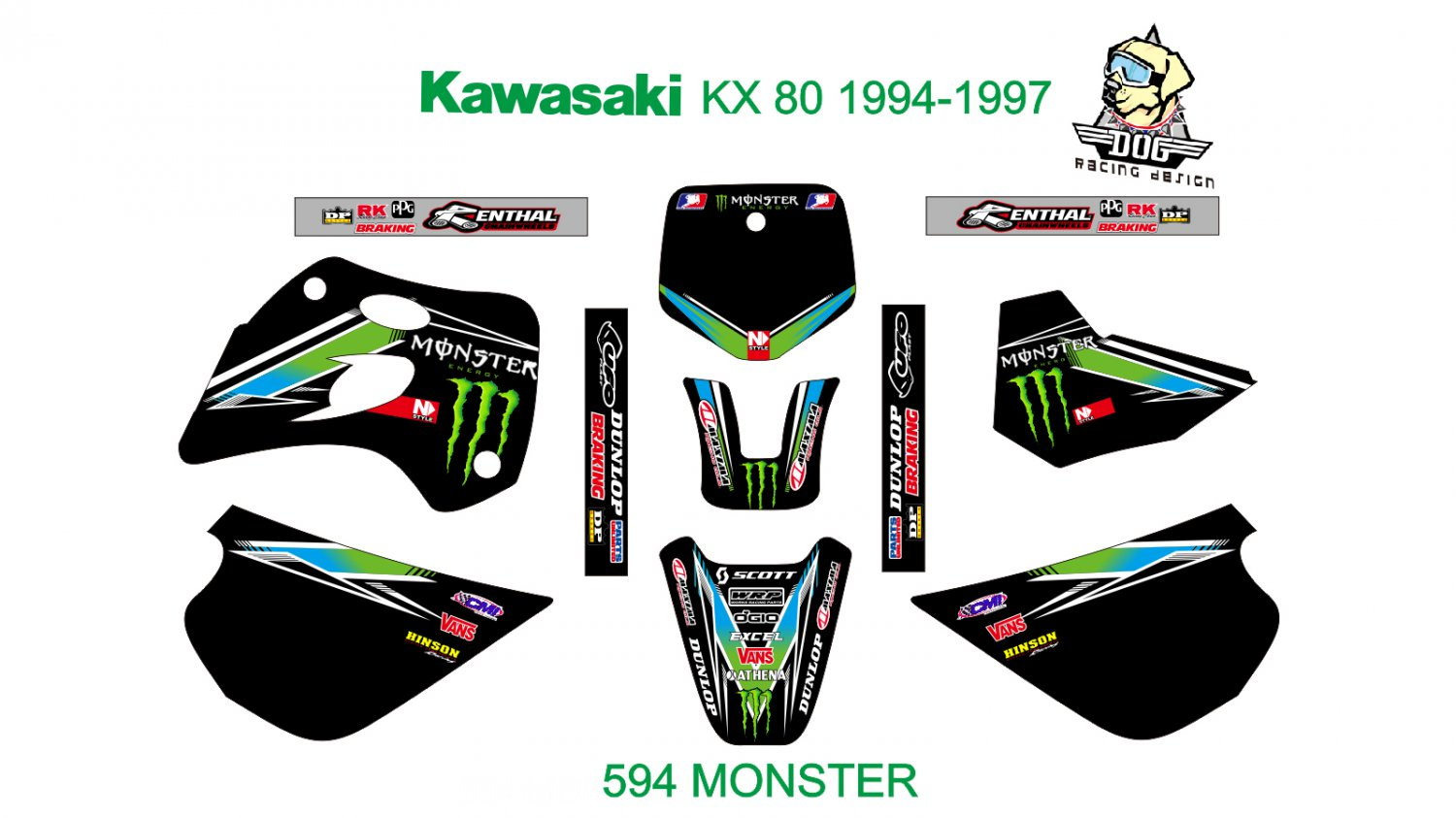 KAWASAKI KX 80 1994-1997 GRAPHIC DECAL KIT CODE.594