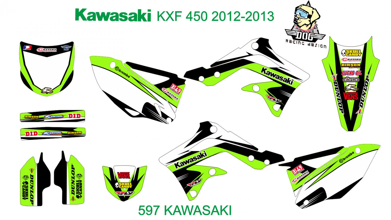 KAWASAKI KXF 450 2012-2013 GRAPHIC DECAL KIT CODE.597