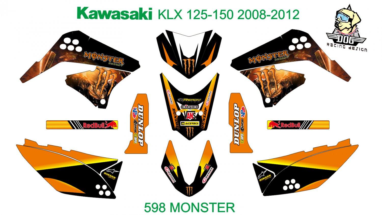 KAWASAKI KLX 125-150 2008-2012 GRAPHIC DECAL KIT CODE.598