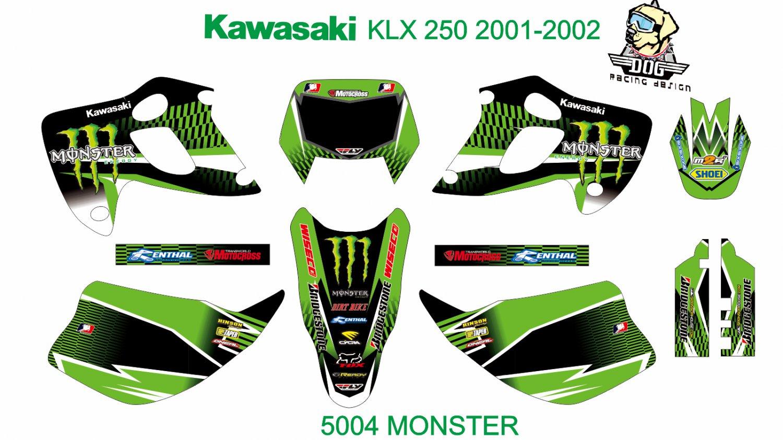 KAWASAKI KLX 250 2001-2002 GRAPHIC DECAL KIT CODE.5004