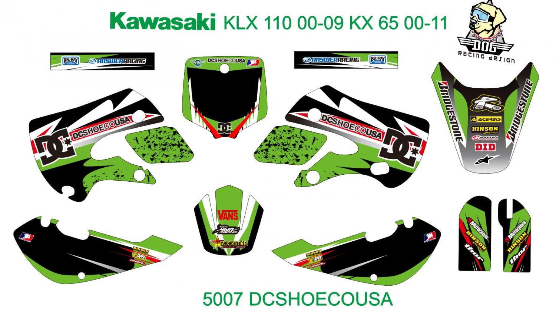 KAWASAKI KLX 110 2000-2009 KX 65 2000-2011 GRAPHIC DECAL KIT CODE.5007
