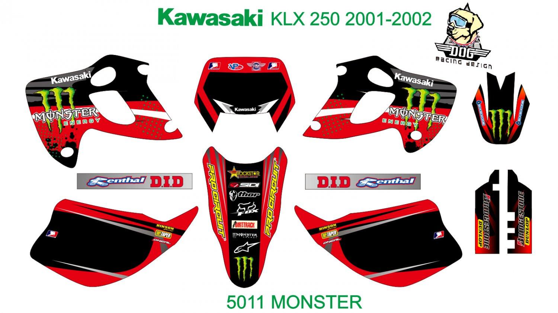 KAWASAKI KLX 250 2001-2002 GRAPHIC DECAL KIT CODE.5011