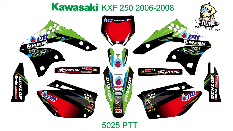 KAWASAKI KXF 250 2006-2008 GRAPHIC DECAL KIT CODE.5025