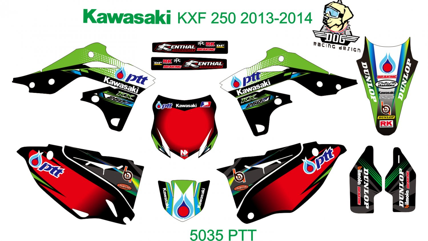 KAWASAKI KXF 250 2013-2014 GRAPHIC DECAL KIT CODE.5035