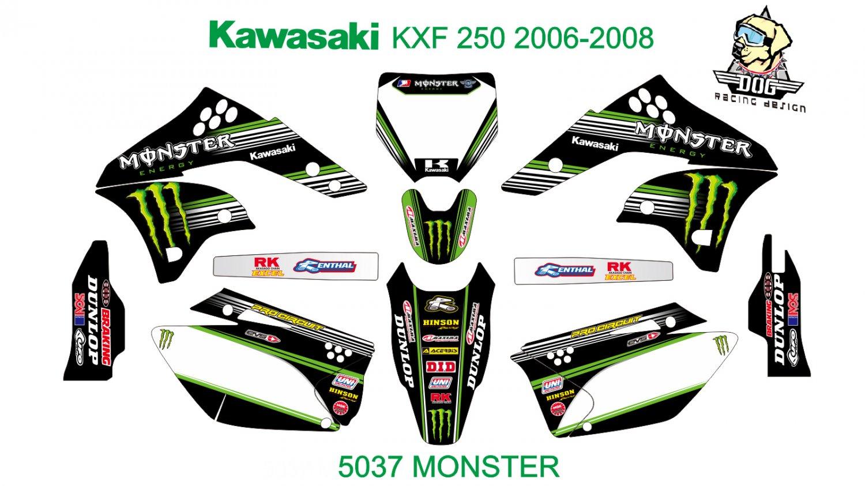 KAWASAKI KXF 250 2006-2008 GRAPHIC DECAL KIT CODE.5037