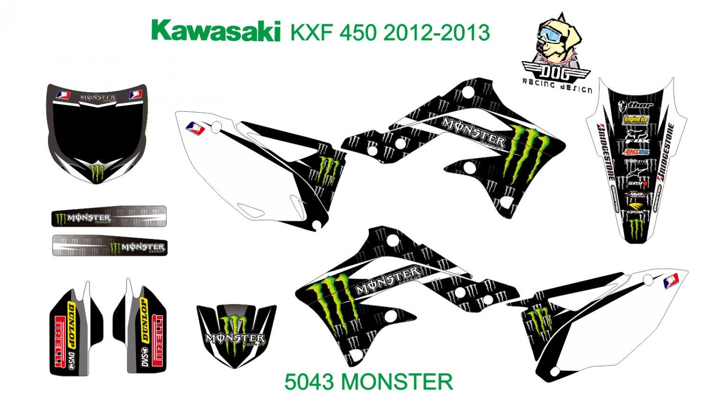 KAWASAKI KXF 450 2012-2013 GRAPHIC DECAL KIT CODE.5043