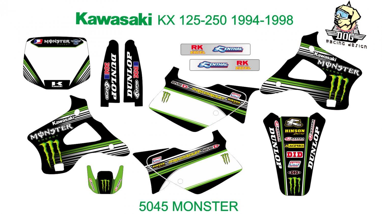 KAWASAKI KX 125-250 1994-1998 GRAPHIC DECAL KIT CODE.5045