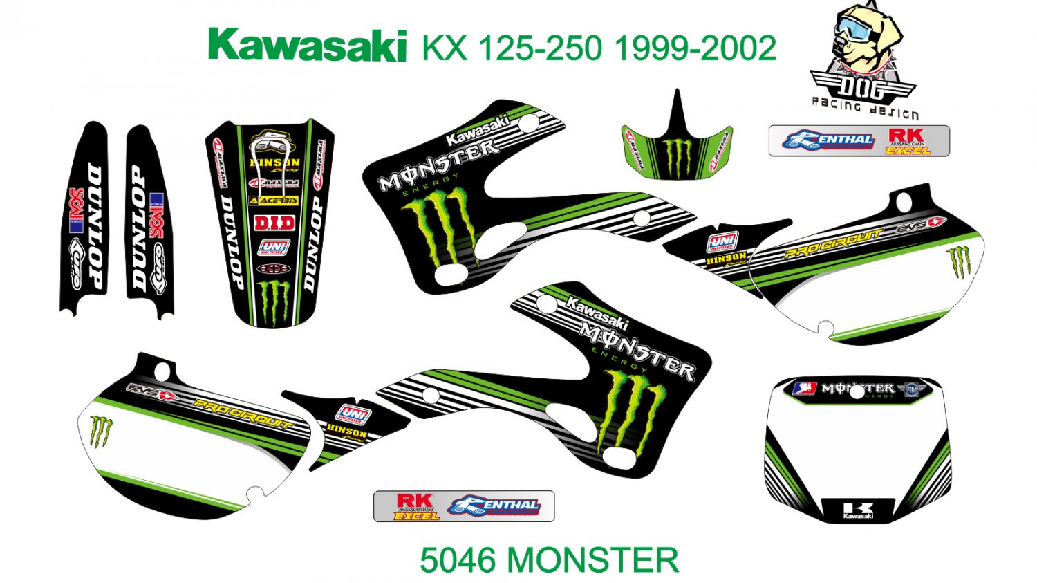 KAWASAKI KX 125-250 1999-2002 GRAPHIC DECAL KIT CODE.5046