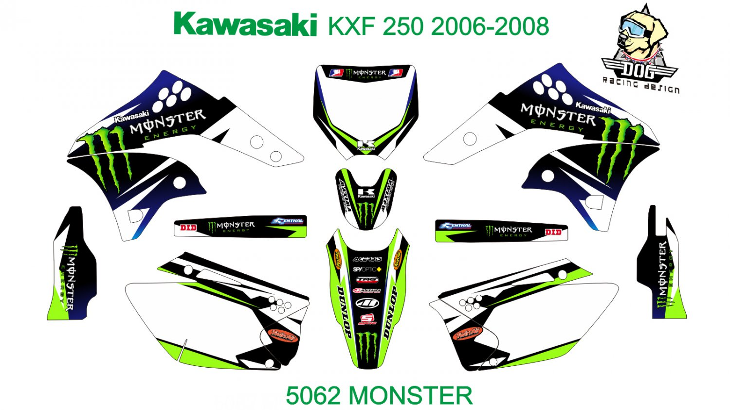 KAWASAKI KXF 250 2006-2008 GRAPHIC DECAL KIT CODE.5062