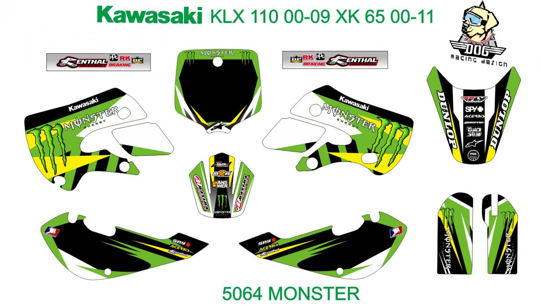 KAWASAKI KLX 110 2000-2009 KX 65 2000-2011 GRAPHIC DECAL KIT CODE.5064