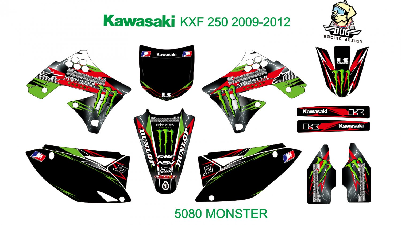 KAWASAKI KXF 250 2009-2012 GRAPHIC DECAL KIT CODE.5080
