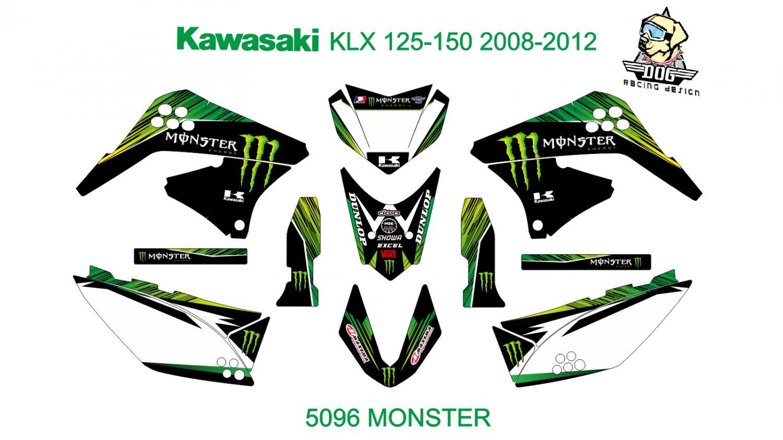 KAWASAKI KLX 125-150 2008-2012 GRAPHIC DECAL KIT CODE.5096