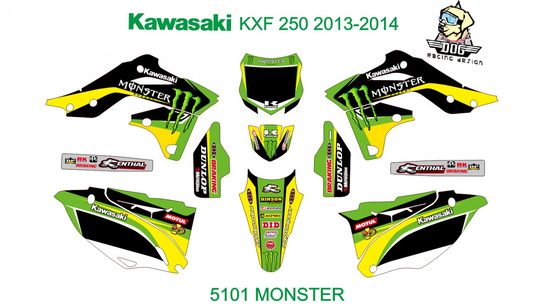 KAWASAKI KXF 250 2013-2014 GRAPHIC DECAL KIT CODE.5101