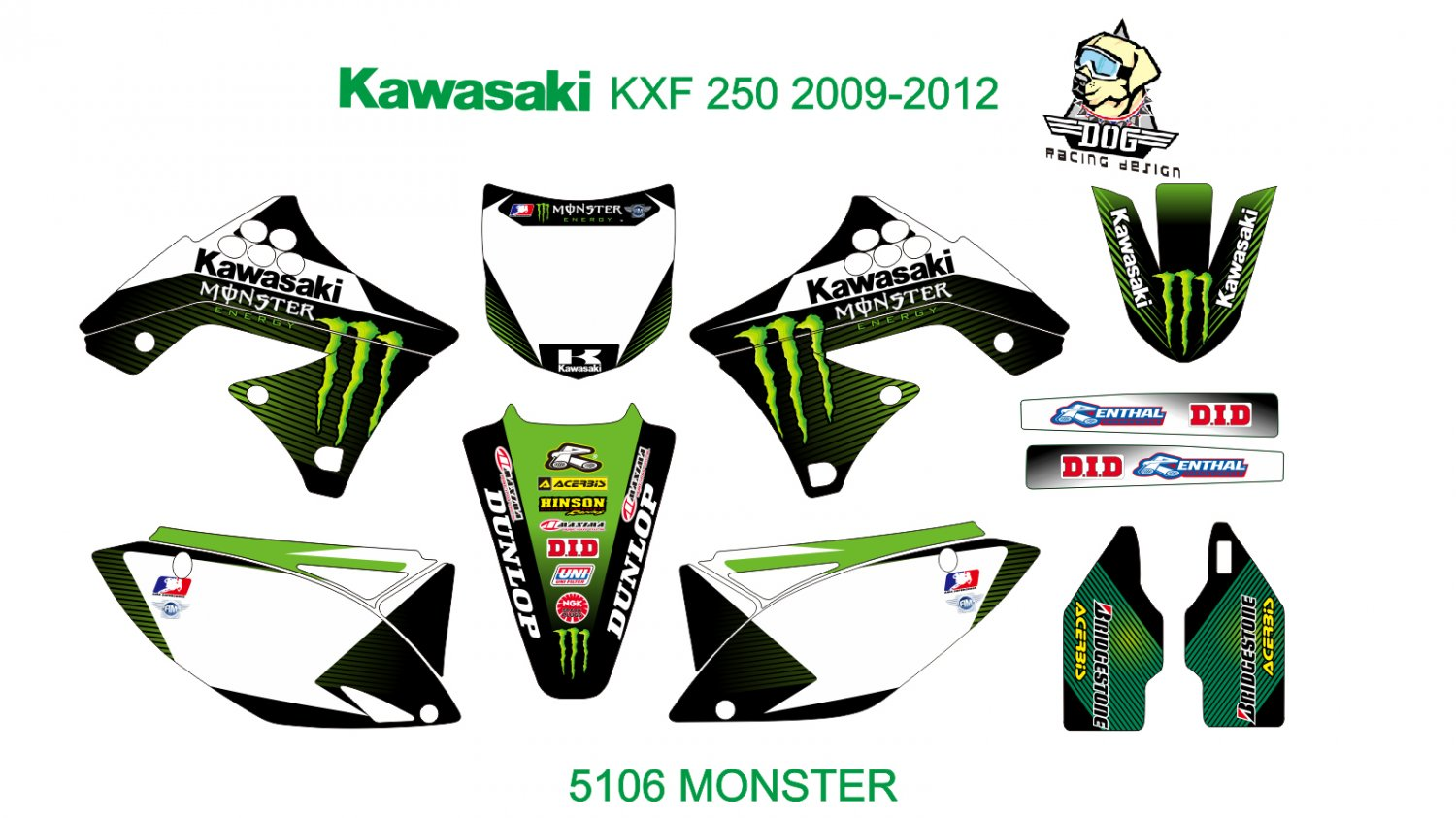 KAWASAKI KXF 250 2009-2012 GRAPHIC DECAL KIT CODE.5106
