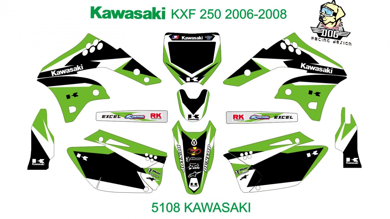 KAWASAKI KXF 250 2006-2008 GRAPHIC DECAL KIT CODE.5108
