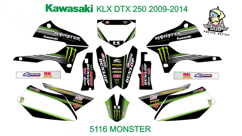 KAWASAKI KLX DTX 250 2009-2014 GRAPHIC DECAL KIT CODE.5116