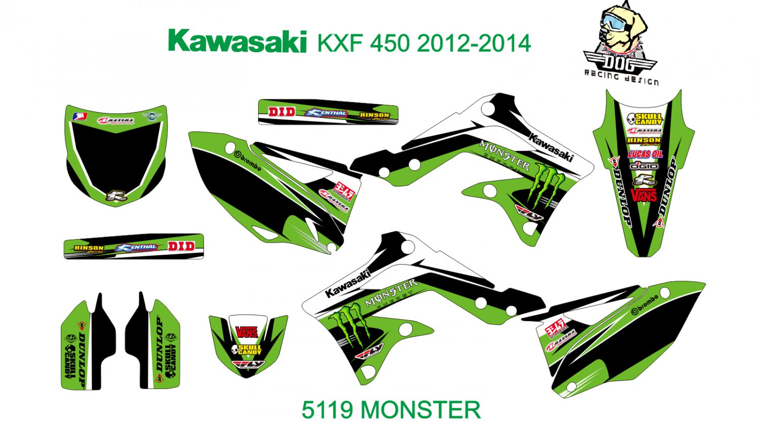 KAWASAKI KXF 450 2012-2014 GRAPHIC DECAL KIT CODE.5119