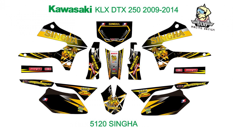 KAWASAKI KLX DTX 250 2009-2014 GRAPHIC DECAL KIT CODE.5120