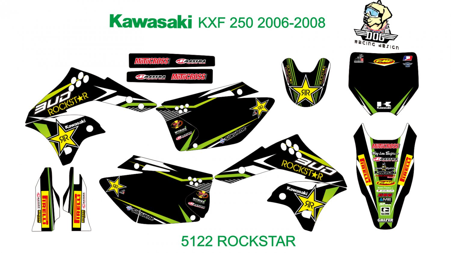 KAWASAKI KXF 250 2006-2008 GRAPHIC DECAL KIT CODE.5122
