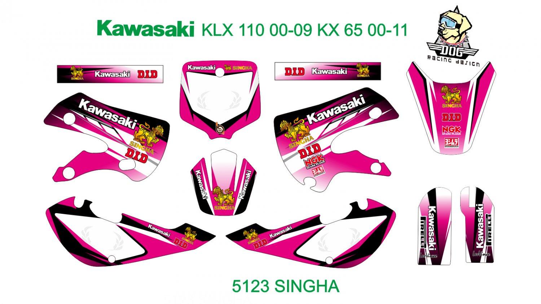 KAWASAKI KLX 110 2000-2009 KX 65 2000-2011 GRAPHIC DECAL KIT CODE.5123
