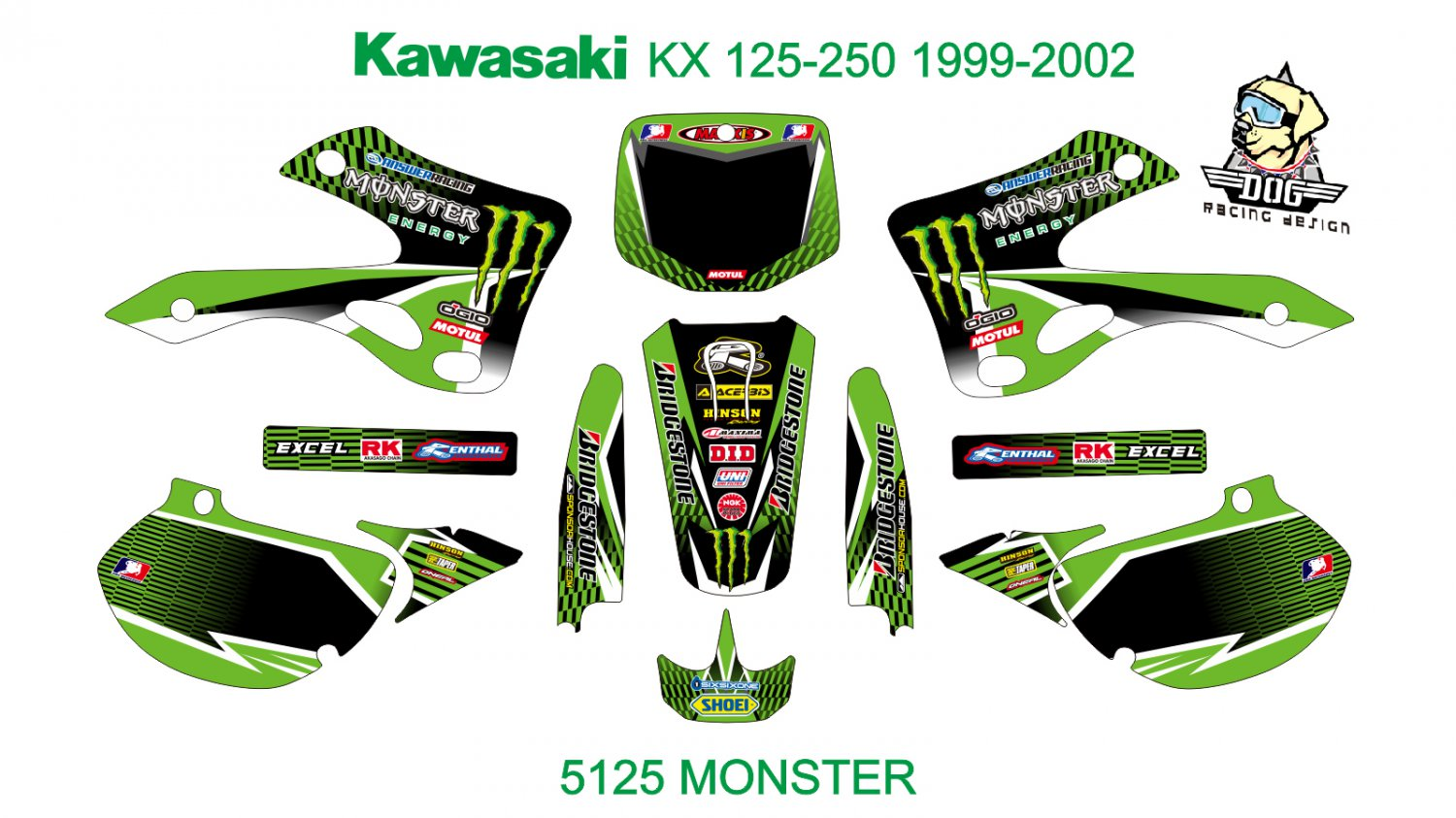 KAWASAKI KX 125-250 1999-2002 GRAPHIC DECAL KIT CODE.5125