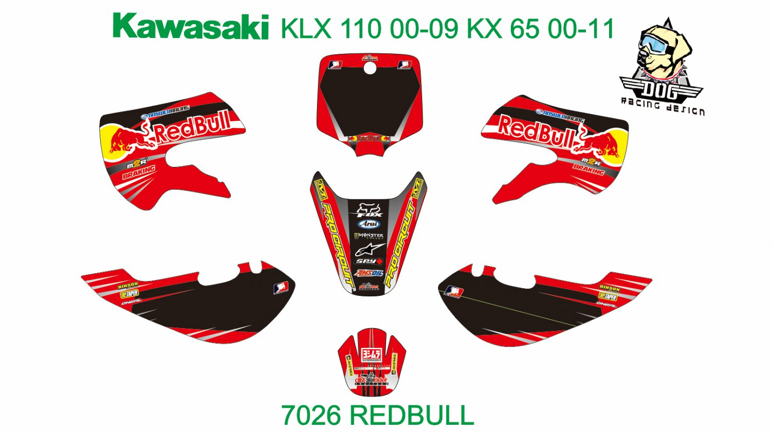 KAWASAKI KLX 110 2000-2009 KX 65 2000-2011 GRAPHIC DECAL KIT CODE.7026