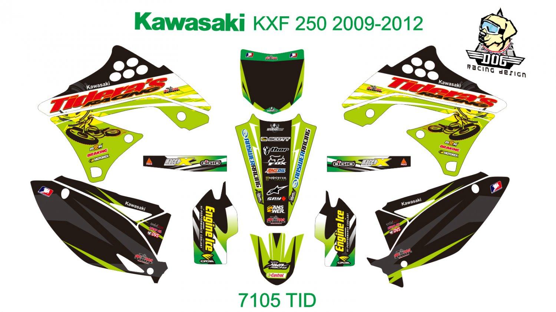 KAWASAKI KXF 250 2009-2012 GRAPHIC DECAL KIT CODE.7105