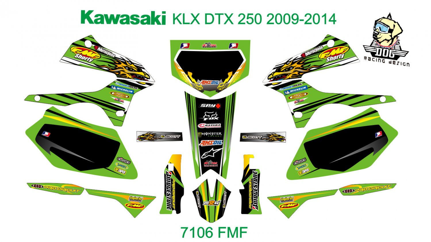 KAWASAKI KLX DTX 250 2009-2014 GRAPHIC DECAL KIT CODE.7106