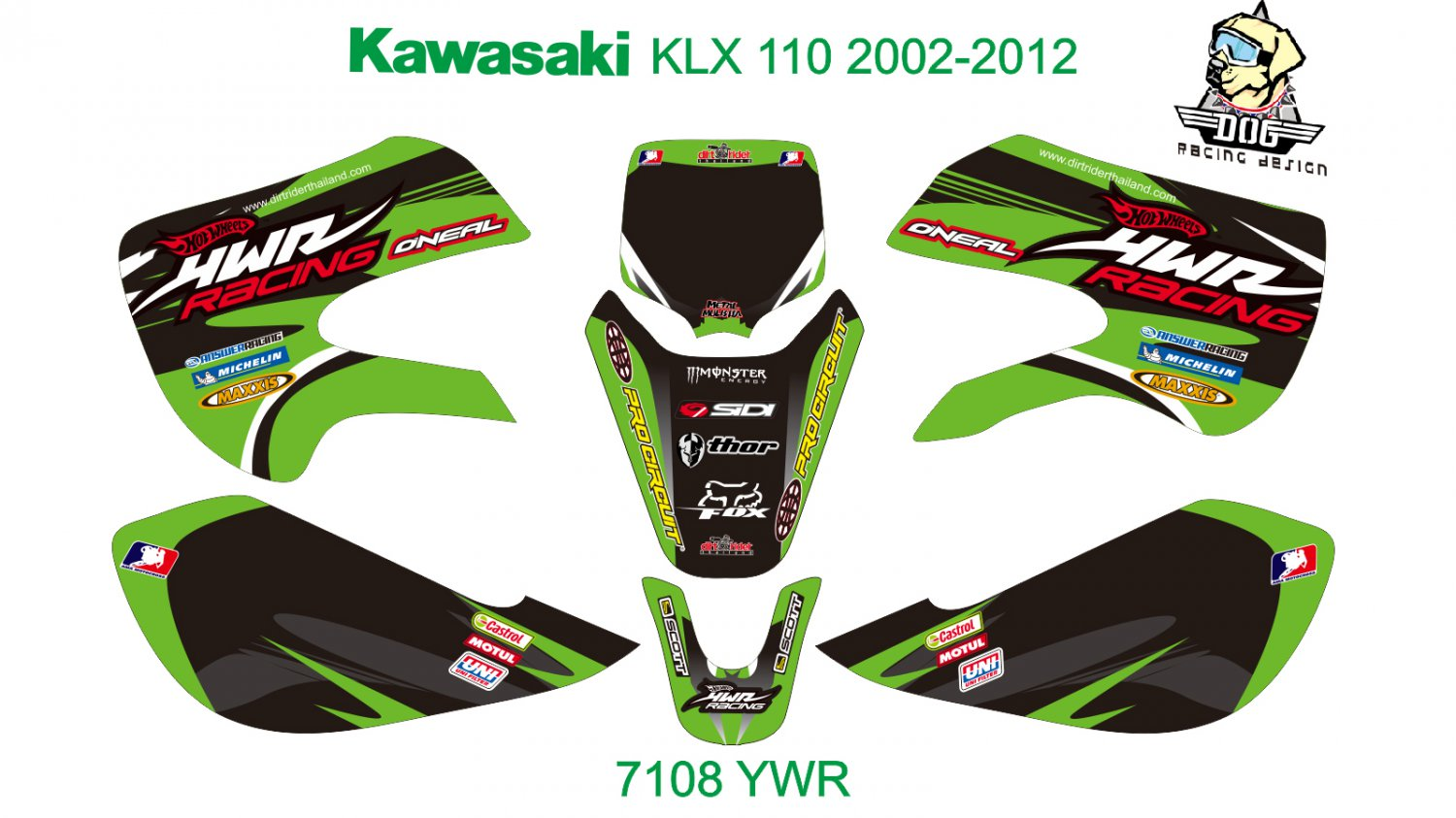 KAWASAKI KLX 110 2002-2012 GRAPHIC DECAL KIT CODE.7108