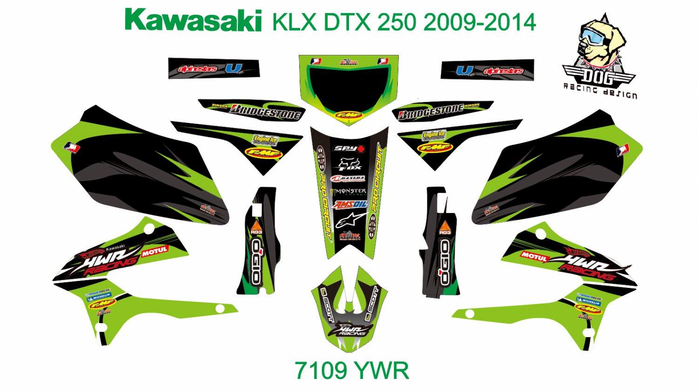 KAWASAKI KLX DTX 250 2009-2014 GRAPHIC DECAL KIT CODE.7109