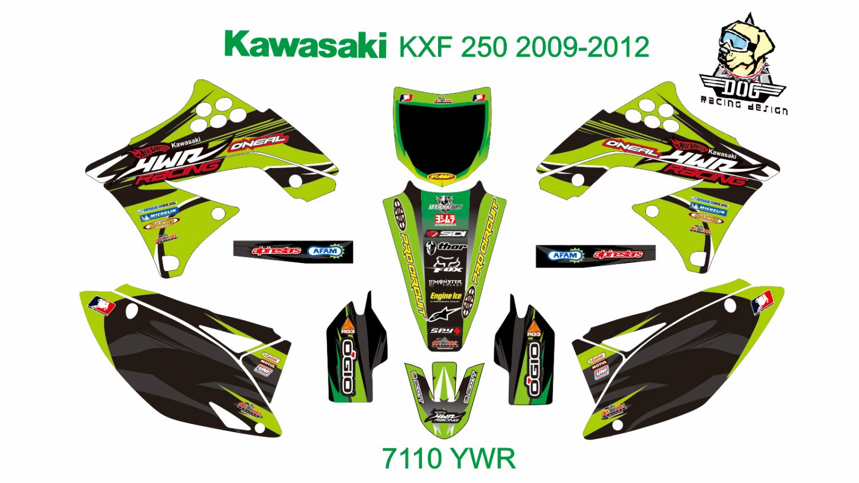 KAWASAKI KXF 250 2009-2012 GRAPHIC DECAL KIT CODE.7110