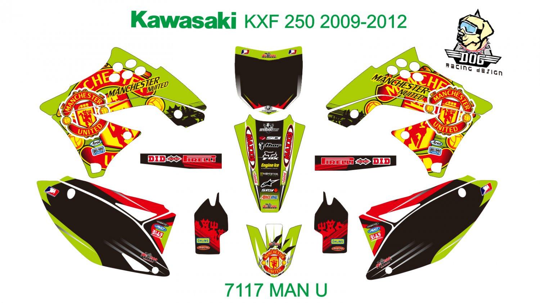 KAWASAKI KXF 250 2009-2012 GRAPHIC DECAL KIT CODE.7117
