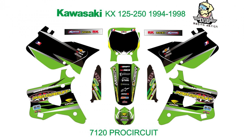 KAWASAKI KX 125-250 1994-1998 GRAPHIC DECAL KIT CODE.7120