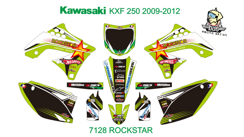 KAWASAKI KXF 250 2009-2012 GRAPHIC DECAL KIT CODE.7128