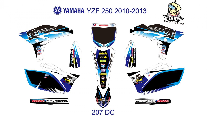 YAMAHA YZF 250 2010-2013 GRAPHIC DECAL KIT CODE.207