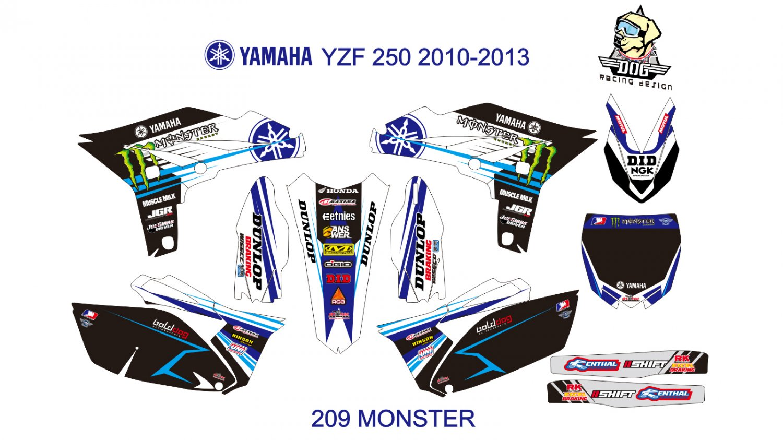 YAMAHA YZF 250 2010-2013 GRAPHIC DECAL KIT CODE.209