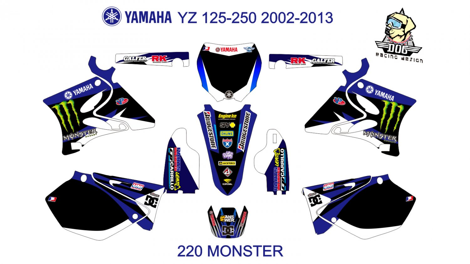 YAMAHA YZ  125-250 2002-2013 GRAPHIC DECAL KIT CODE.220