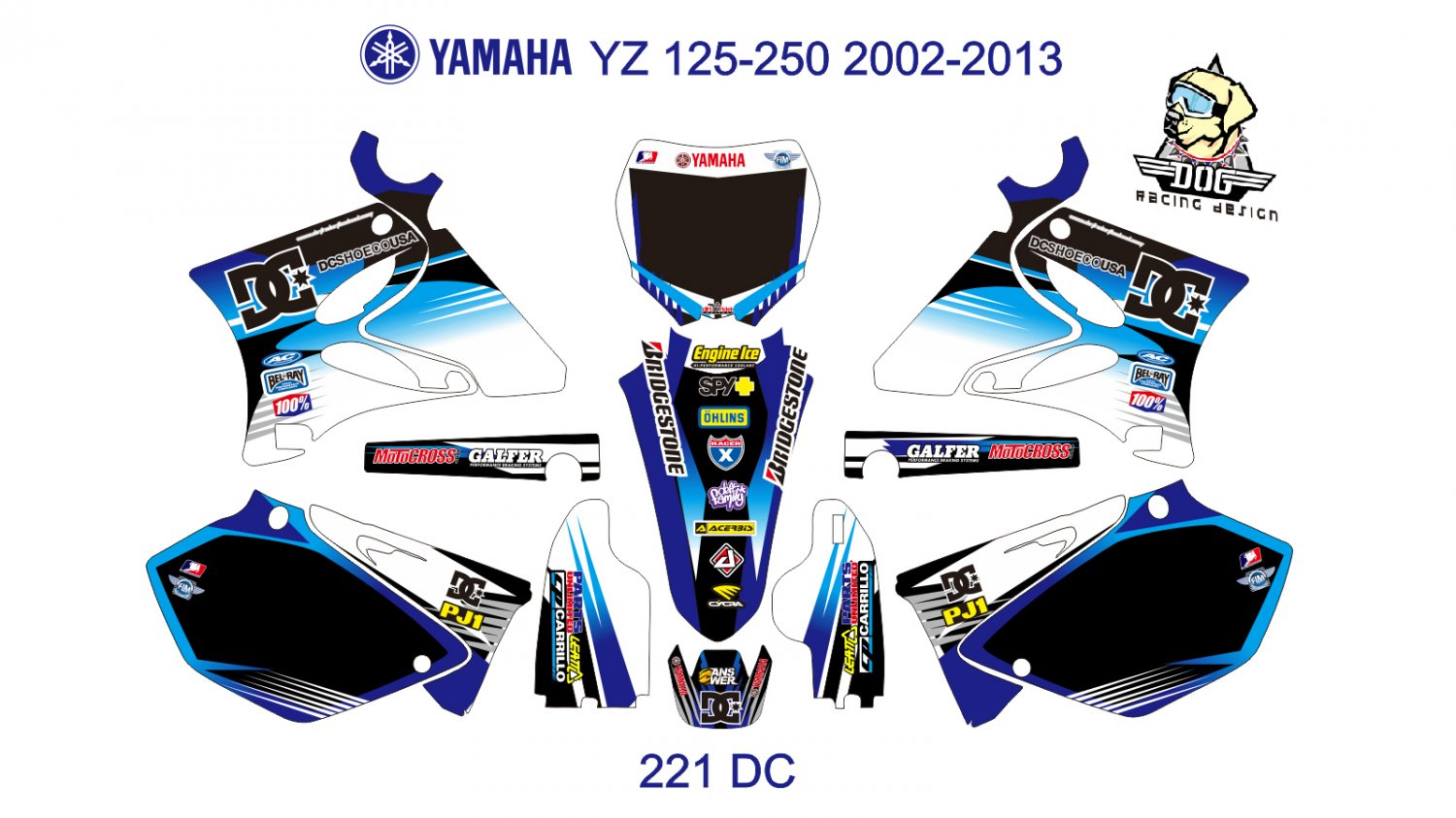 YAMAHA YZ  125-250 2002-2013 GRAPHIC DECAL KIT CODE.221