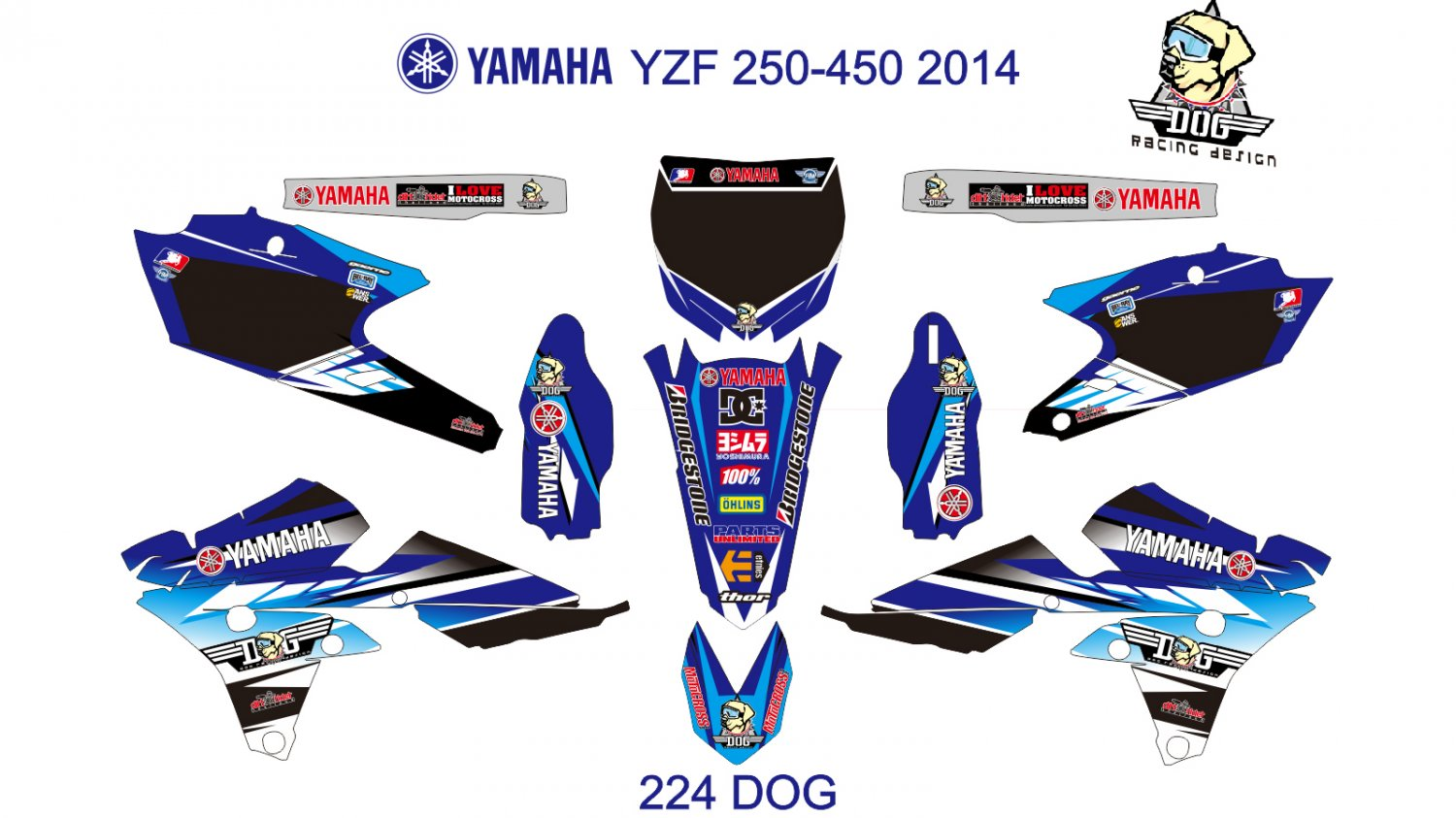 YAMAHA YZF 250-450 2014 GRAPHIC DECAL KIT CODE.224