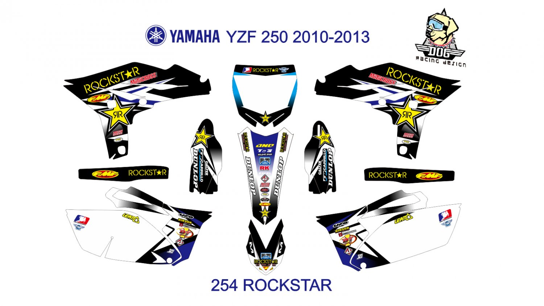 YAMAHA YZF 250 2010-2013 GRAPHIC DECAL KIT CODE.254
